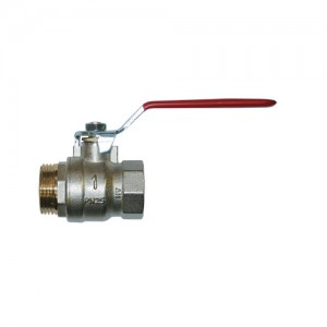 Shut-off ball valve - threaded ends M/F, with red handle