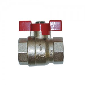 Shut-off ball valve - threaded ends F/F, with red butterfly handle